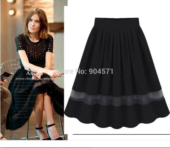 2014-Summer-New-High-Waist-Pleated-Chiffon-Long-Skirt-Women-Retro-Patchwork-OL-Elastic-Waist-Black